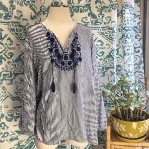 Navy Stripped Embroidered Tunic Top